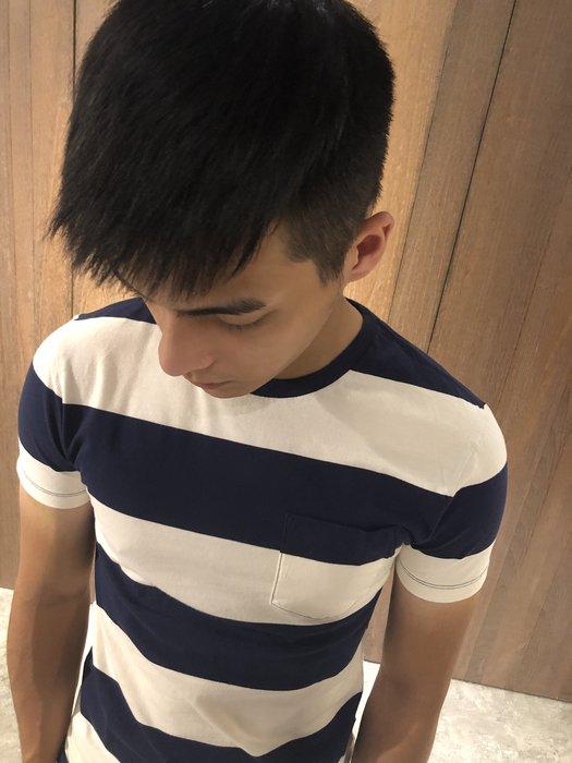 美國百分百【全新真品】J Crew T恤 口袋 上衣 T-shirt 短袖 圓領 短T 粗條紋 深藍 米白 G965