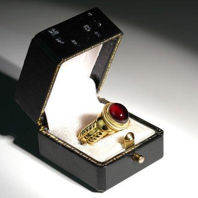 韓國 Penetrate 純銀鍍金 匪幫紅寶石戒指