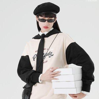 じ月亮居家館╮PROD獨立設計 早秋薄款連帽衛衣女寬松 潮牌設計撞色拼接情侶裝X3C52