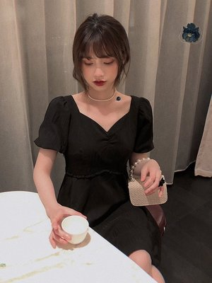 ❤Princess x Shop❤白色V領減齡連身裙收腰顯瘦法式赫本風裙子TJN27-45-2韓國同款女裝洋裝