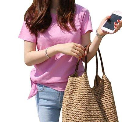 韓國MM= 粉色短袖純棉T恤女夏寬鬆圓領韓版純色修身顯瘦不規則白色打底衫 =襯衫牛仔褲短褲連身裙短t亞麻半身裙蕾絲易付