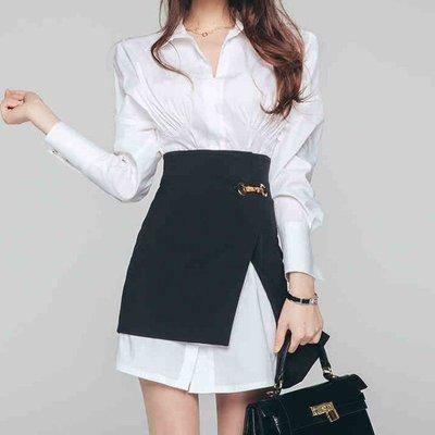 ☆§JIAJIA HOME§☆ 韓版 黑白搭配 純色OL 收腰修身 兩件式套裝A1962