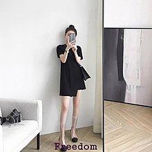 Freedom.春裝2019款女沙灘裙女海邊度假法式復古裙小黑裙心機裙子洋裝夏連身裙