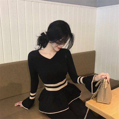 韓版女裝氣質修身顯瘦針織V領長袖上衣T...