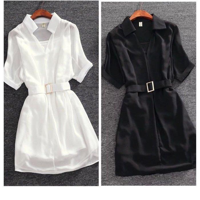 氣質女裝縷空寬鬆薄款雪紡連衣裙兩件式套裝洋裝