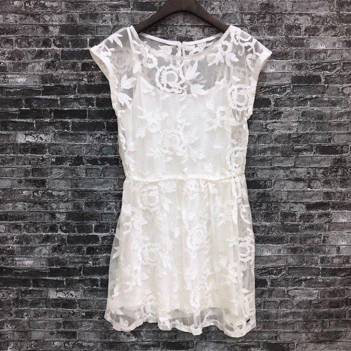 Maple麋鹿小舖 Hollister Co * HCO 米白色無袖蕾絲洋裝 * ( 現貨S號 )