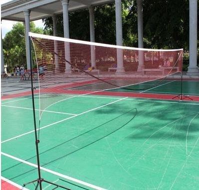【可擕式多功能網架-3.1米學生型-鋁管+尼龍球網-3.1*1.55米-1套/組】折疊標準羽毛球網-56007