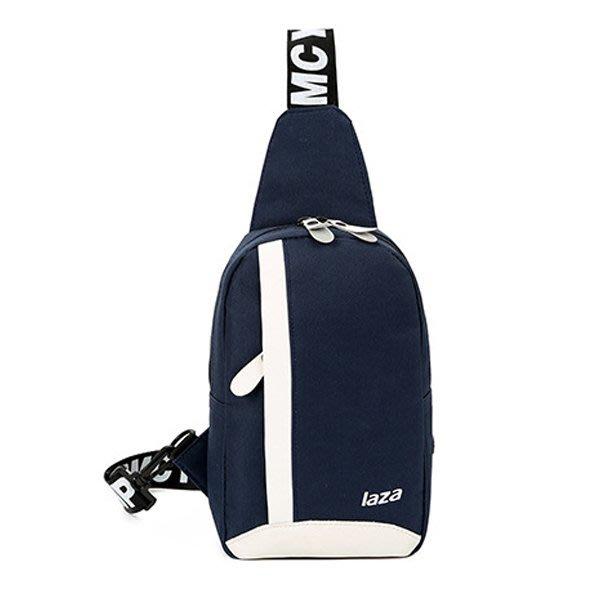 韓版字母胸包藍色潮男單肩斜跨包側背包型男2018推薦款