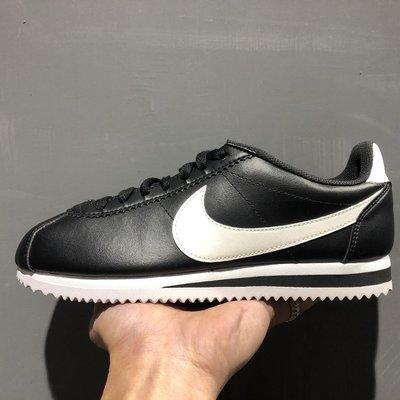NIKE WMNS CLASSIC CORTEZ LEATHER 黑 白勾 皮革 復古 阿甘 慢跑鞋 女鞋