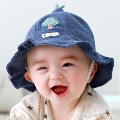寶寶帽子春秋0-3-6-12個月嬰兒幼兒遮陽防曬帽男女兒童漁夫帽薄款
