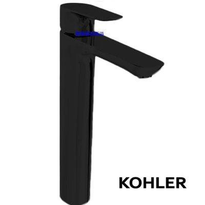 【歐築精品衛浴】KOHLER《美國》✰ Aleo系列啞光黑加高面盆龍頭K-98868T-4-BL