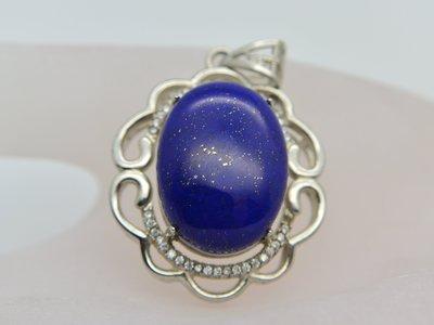 《青金石專區》《項鍊》天然青金石Lapis lazuli 大克拉 蛋面墜子送鋼鍊