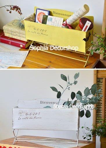 蘇菲亞精品傢飾~法式Zakka長方型鐵藝置物盒花器小盆栽造景擺飾多肉植物/黃色白色