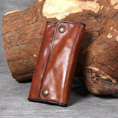 長夾真皮錢包-做舊棕色植鞣牛皮男女皮夾73vp31[獨家進口][米蘭精品]