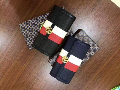 ~品味倉庫~ 美國 Tory Burch Duet Stripe Envelope 長夾 -兩色
