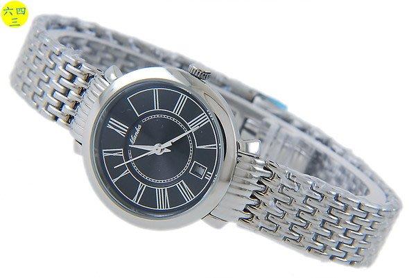 (六四三精品)MANKA(真品)全不銹鋼錶殼及錶帶.斯文氣質款.秀氣錶徑2.7.黑面!女!