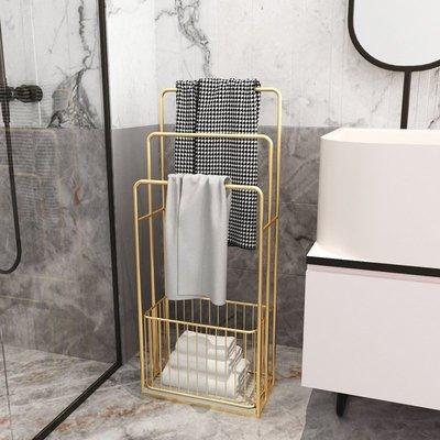 浴室置物架輕奢北歐毛巾架落地洗漱臺家用大理石浴室置物架衛生間浴巾收納架