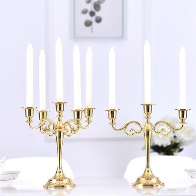香薰蠟燭歐式五頭輕奢燭臺復古香薰蠟燭臺擺件北歐浪漫家用西餐燭光晚餐座