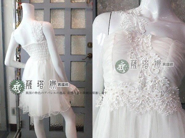 @~薩瓦拉: 白色單肩綴珍珠蕾絲緹花刺繡平口網紗洋裝/新秘婚紗小禮服/晚宴主持/派對