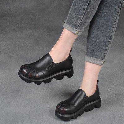 拓荒者革製所。復古真皮厚底單鞋女套腳真皮松糕鞋輕便牛皮防水臺女鞋
