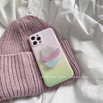 Tactile`SHERRY*ins漸變白桃青青花朵小熊適用蘋果12/11/XSXRPROMAX手機殼