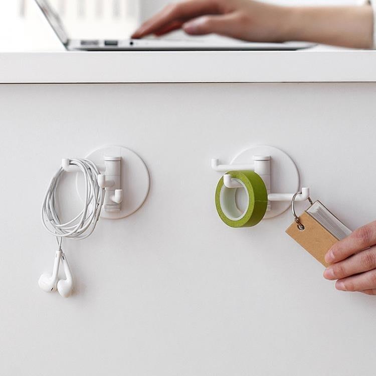 懶角落分支掛鉤2個裝無痕家用門后廚房墻壁免釘粘貼鉤子