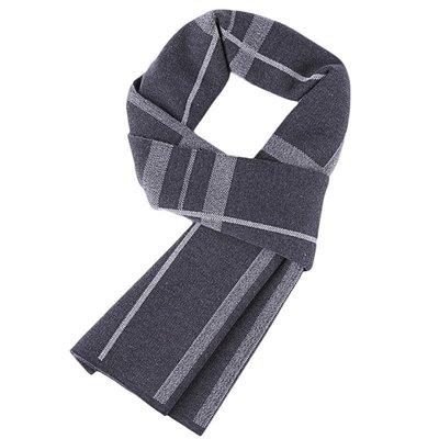 圍巾 針織披肩-羊毛灰色格子學院風男配件73wi62[獨家進口][米蘭精品]