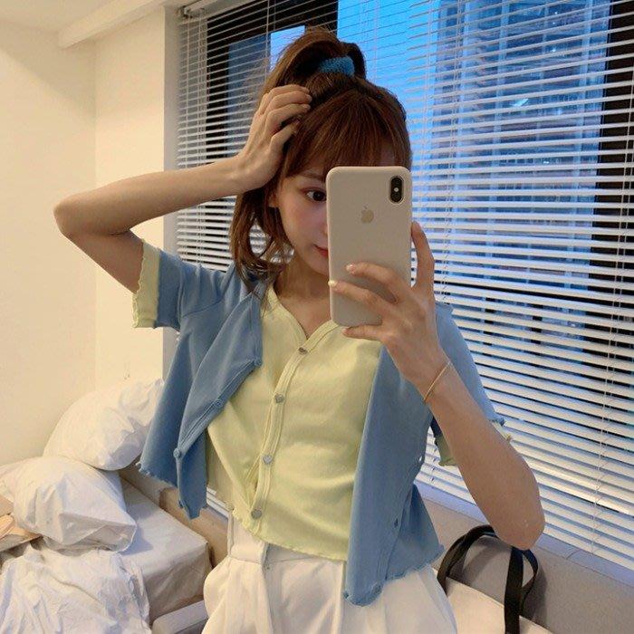 小香風 短袖T恤 時尚穿搭 短袖開衫假兩件女上衣短款露臍V領拼色寬松t恤