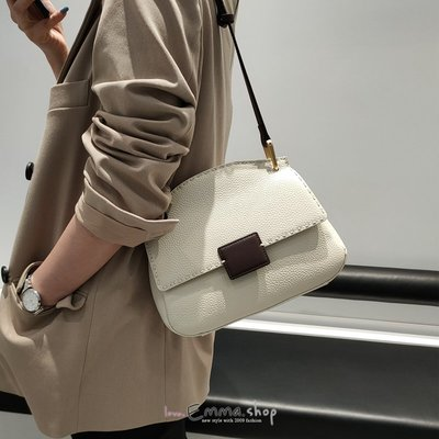 EmmaShop艾購物-韓國同步上新法式設計師款復古手縫線真皮肩背包