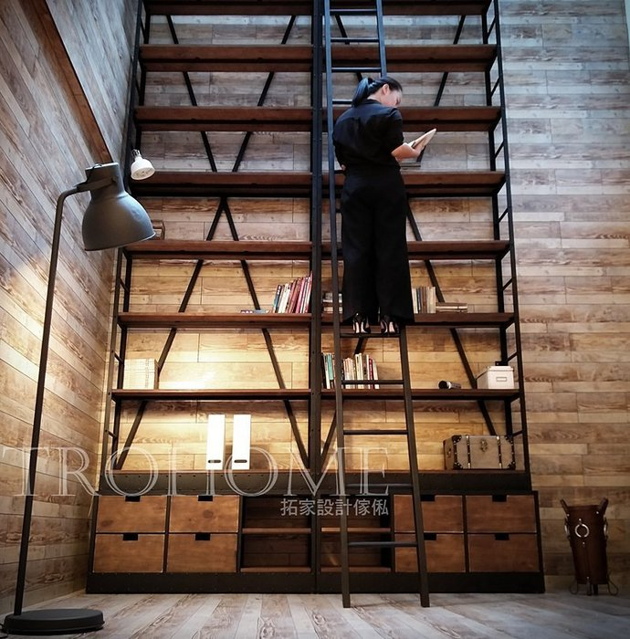 【拓家工業風家具】可訂製尺寸-LOFT附樓梯抽屜書架/美式復古層架置物架/鐵製實木多層收納架展示架/民宿咖啡雜誌架電視櫃