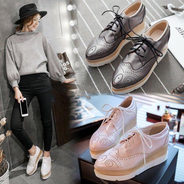 =WHITY=韓國FUPA品牌 韓國製時尚美腿新款坡跟厚底鞋個性美腿粉色簡約純色名媛舒適好穿S7DF456