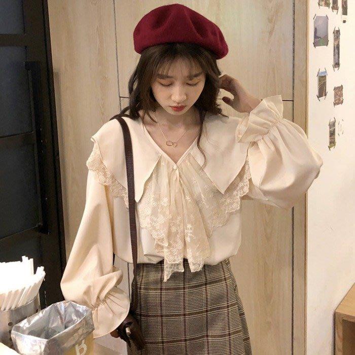 短袖雪紡衫 甜美 小香風 韓版 chic娃娃領蕾絲拼接喇叭袖寬松內搭長袖 雪紡衫 女