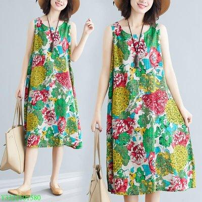 棉麻印花無袖韓版大碼連衣裙顯瘦款女式減齡背心裙 BR#519 台北市