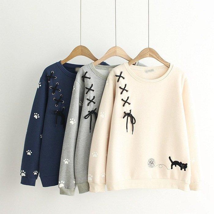 【C6263】長袖  日系森女系刺繡貓咪綁帶加絨長袖上衣☆*藍荳荳小舖*☆(現貨)