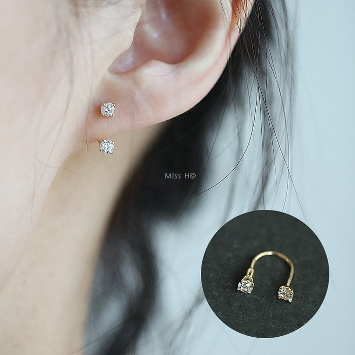 現貨 獨家訂製款AT37-法式手工輕珠寶-14K純金黃金。U形2顆鋯鑽彎桿擰螺絲耳環 項鍊vita長夾fede手環cdc