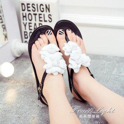 ☜男神閣☞夾腳涼鞋人字拖女鞋夾腳果凍平跟時尚涼鞋平底學生韓國