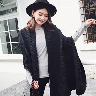 圍巾 仿羊絨 披肩-黑色雙面厚款保暖女配件73ub43[獨家進口][米蘭精品]