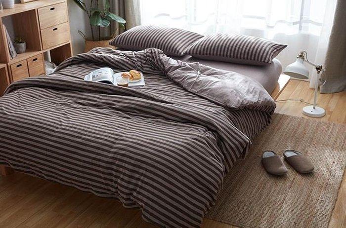 純棉親膚裸睡專用床包組(深咖條紋) 床包 床單 枕頭套 枕頭 床 棉被 被套 寢具 裸睡 純棉 床包組 拖鞋 室內拖鞋