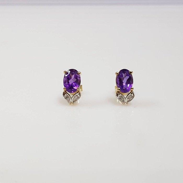 送禮禮物禮品 天然紫水晶耳環 耳環1.1x0.6cm 黃K金耳針扣附店保卡精美盒裝 大眾當舖 編號5584
