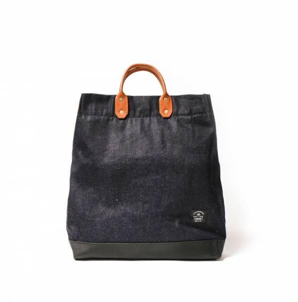 點子包【icleaXbag】簡約L號真皮帆布購物袋 手提包 含背帶 單寧藍 A4可放 DG34