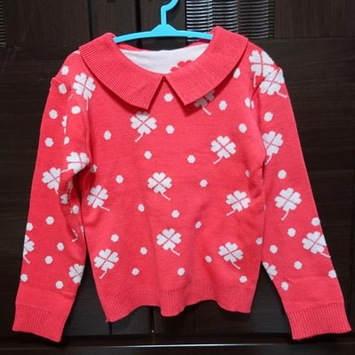 女童 橘紅幸運草圖樣 長袖針織衫