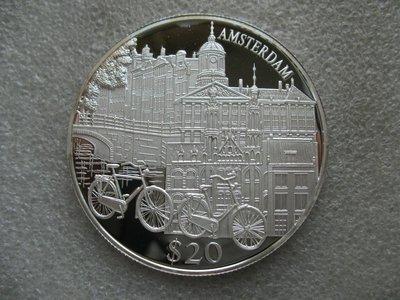 【八方緣】(各國銀幣)利比理亞2000年20元精製紀念大銀幣 歐洲知名城市阿姆斯特丹  SXQ1031