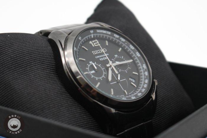 【高雄青蘋果】SEIKO 黑武士三眼計時腕錶 SSB093P1 45mm 6T63-00J0SD 二手手錶 #30275