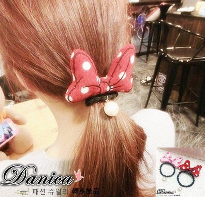 髮飾 現貨 韓國熱賣 氣質甜美手作 超可愛 點點 蝴蝶結 珍珠髮束(7色)K7307  Danica 韓系飾品 韓國連線