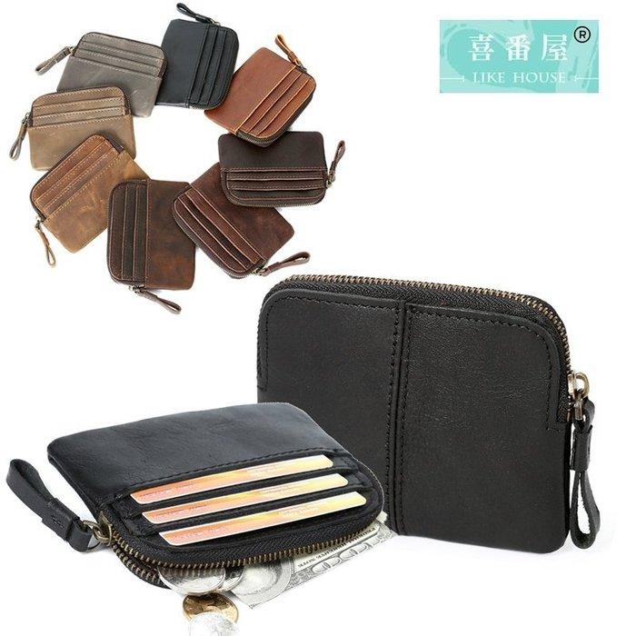 【喜番屋】真皮牛皮復古皮夾皮包錢夾零錢包硬幣包卡片包卡片夾卡片套卡包卡夾男夾【LH520】