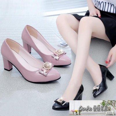 粗跟圓頭高跟鞋 新款單鞋休閒淺口套腳蝴蝶結女士中跟 BF15370 【優優家居】