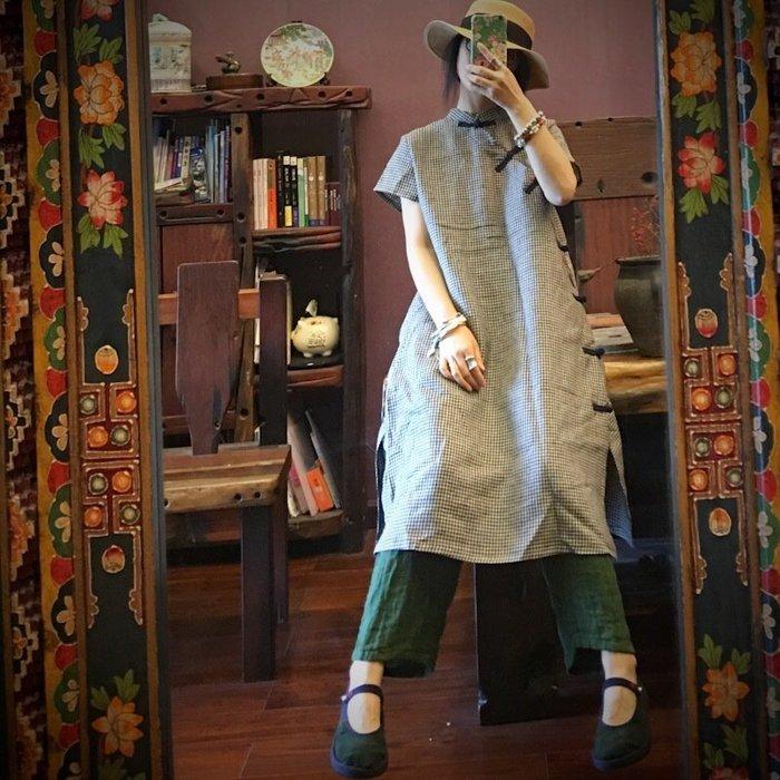 【子芸芳】原創高端純亞麻色織細格立領盤扣連衣裙