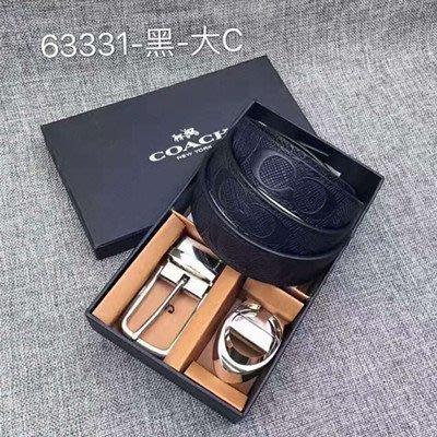 【八妹精品】COACH 63331 新款男士浮雕壓紋雙面用皮帶 附雙扣頭 銀色雙扣頭 簡約時尚腰帶