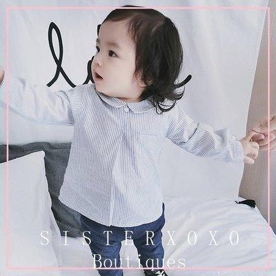 Sisterxoxo 17秋季新品 氣質條紋小翻領寬鬆後排釦襯衫 女寶 嬰兒 新生兒 0-3歲 上衣