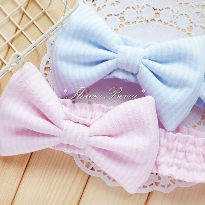 花兒貝拉 手工縫製 條紋款大蝴蝶結 嬰兒 寶寶 髮帶、頭帶、髮飾 /雙層棉紗 / 寶寶彌月禮‧滿月禮 ‧拍照